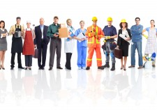 9138662 - large group of workers people. isolated over white background.