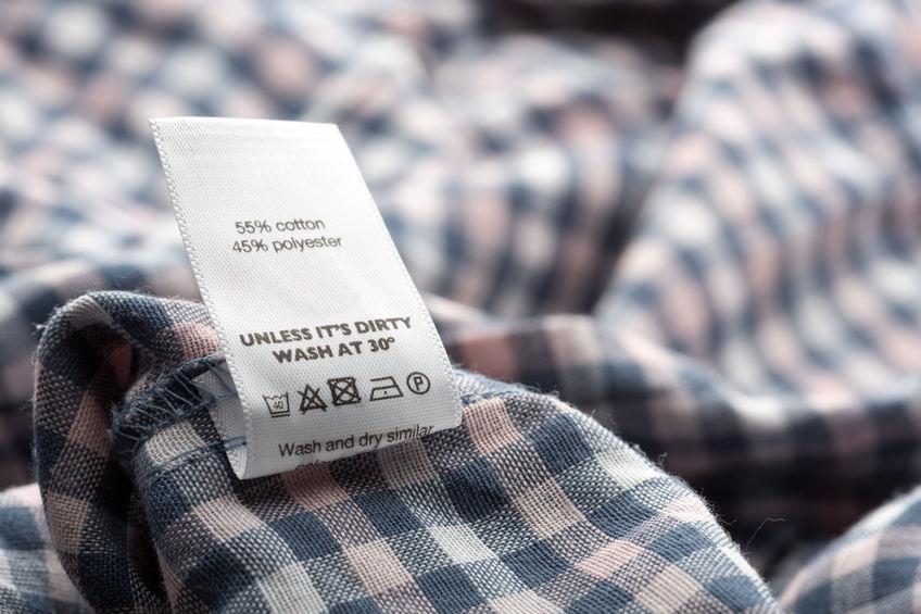 Closeup view of cloth label